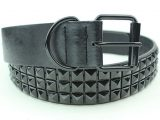 Black Studded Unisex Vegan Leather Belt