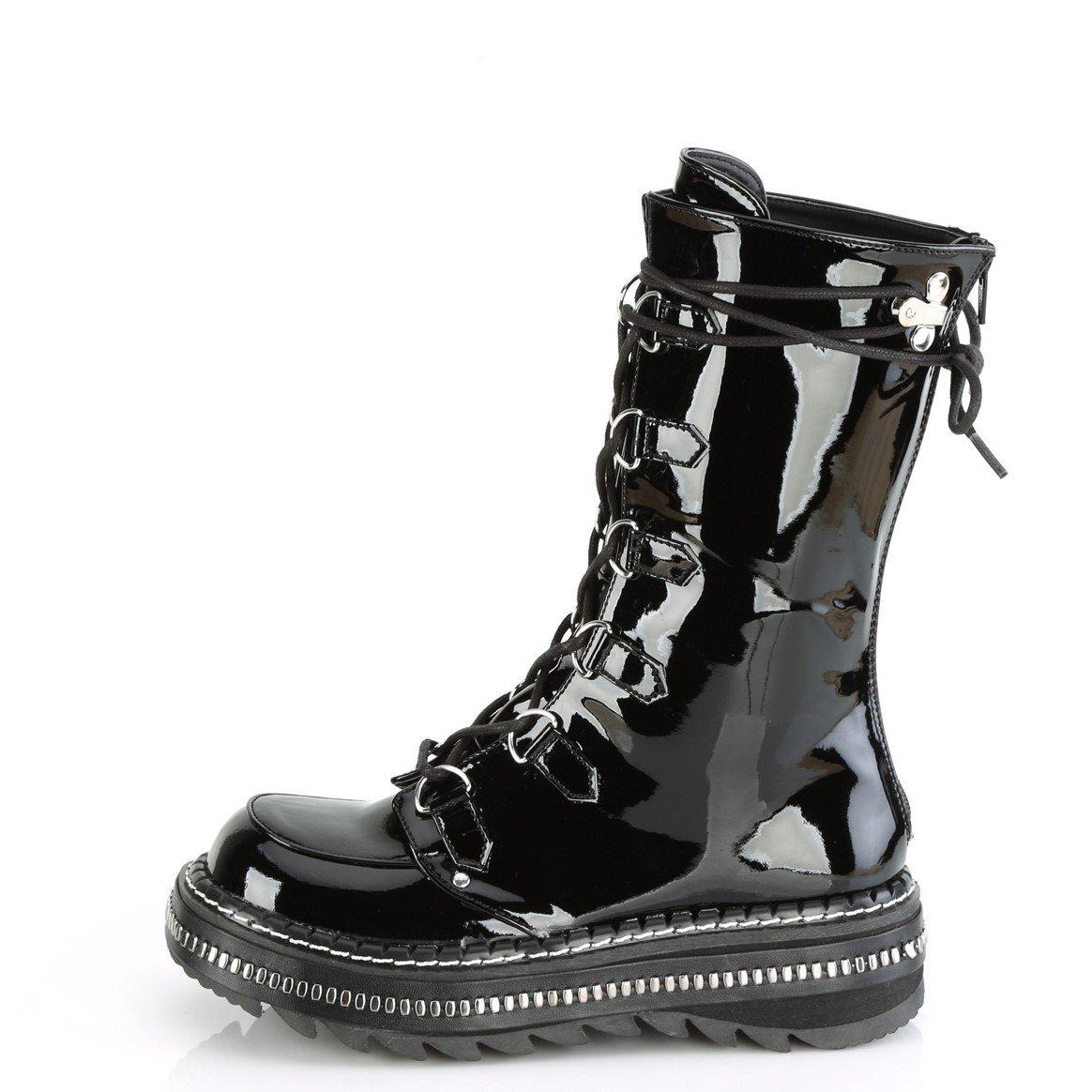 Lilith-270 Shiny Black Vegan Leather Zip /& Lace Platform Boots Gothic,Goth