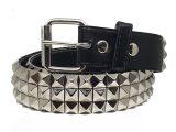 Silver Metal Pyramid Studded Unisex Leather Belt
