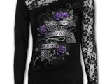 Every Rose Lace Long Sleeve Black Top