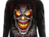 Fright Night Men's Long Sleeve Black Clown T-Shirt