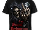Social Distance Men's Black Print Reaper T-Shirt