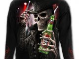 Triple 6 Men's Black Long Sleeve Skull T-Shirt