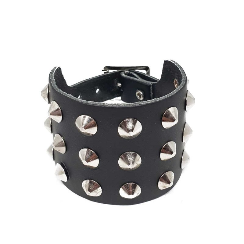 Studded leather wristband