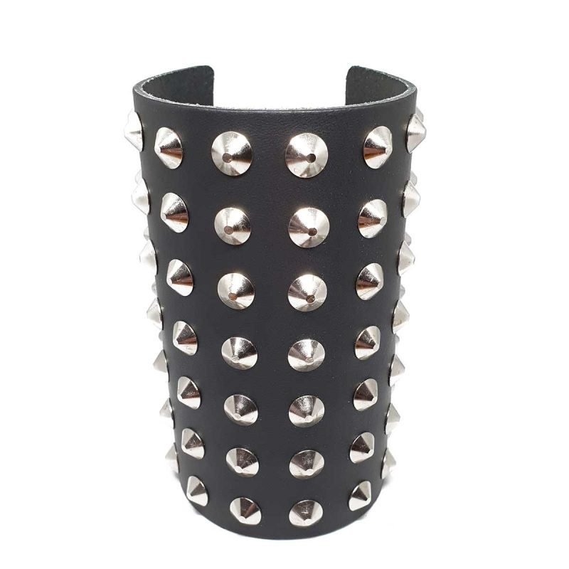 Leather studded wristband