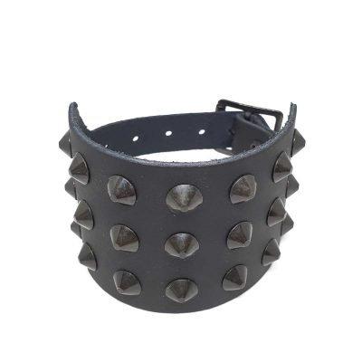 Studded leather wristband
