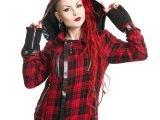 Z Women's Red & Black Tartan Hooded Jacket
